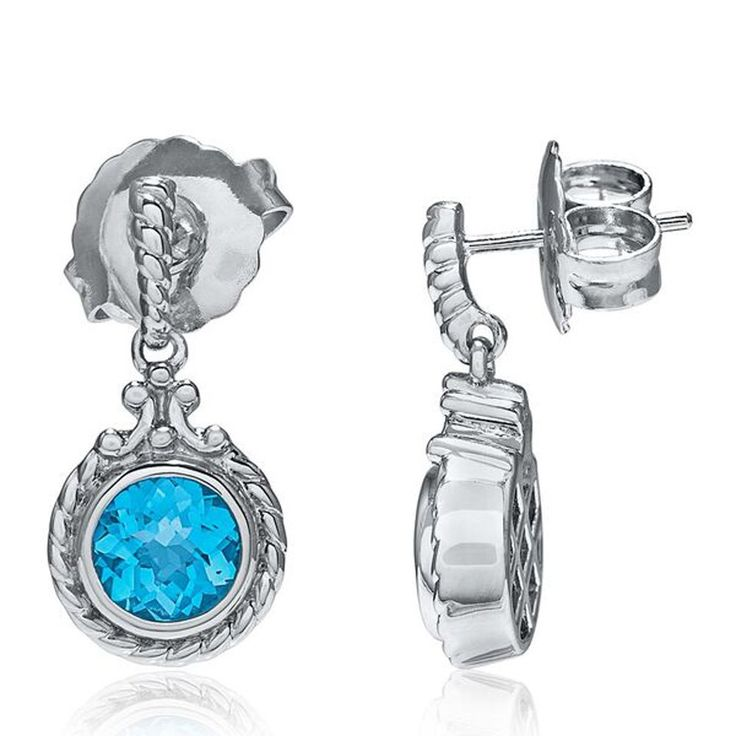 "Sterling Silver Blue Topaz Earrings. Solid Sterling Silver Earring. Genuine swiss blue topaz gemstones. 0.75 "" inch earrings. Friction Back. Shipped in presentation gift box."