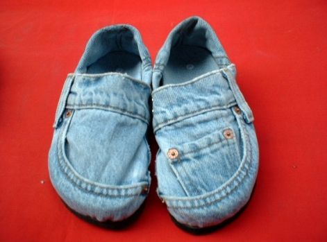 Denim Shoes made from recycled jeans...made from Thailand and sold only in bulk. Minium 1000pr purchase only Seven Bucks each I think.  Now, to get 995 other people interested.