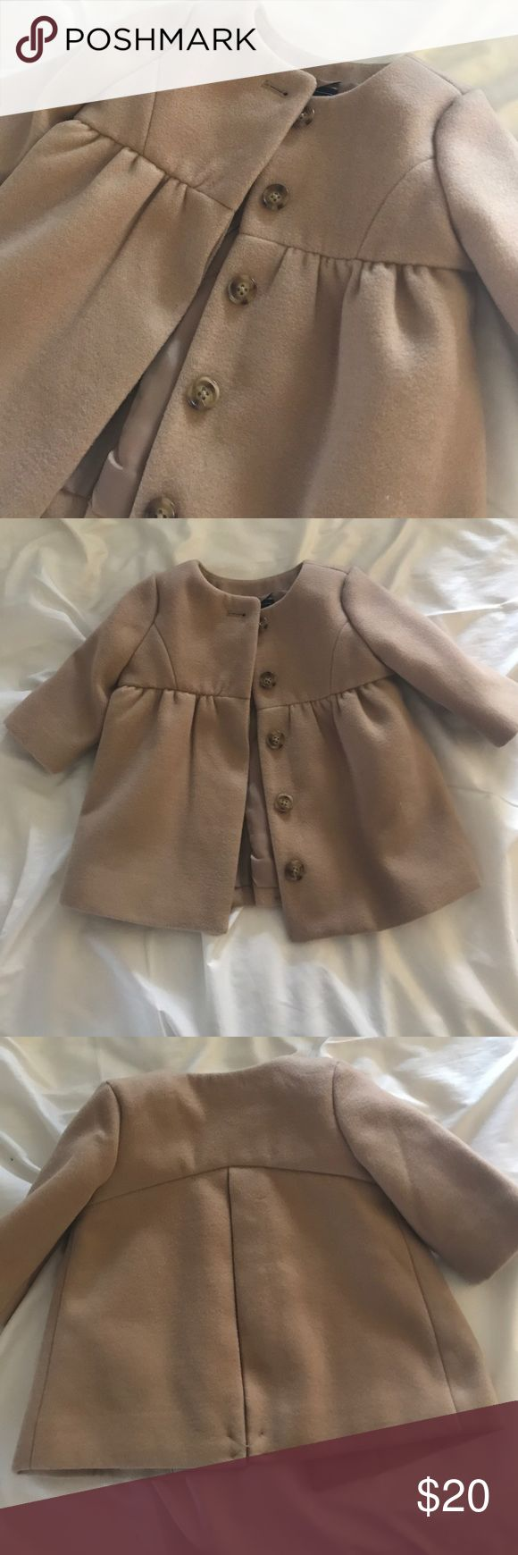Infant Gap jacket 0-6m NWT BabyGAP camel colored pea coat, size 0-6m. This jacket is beautiful for a spring or fall baby!! Our daughter was too big when we received it as a gift. GAP Jackets & Coats
