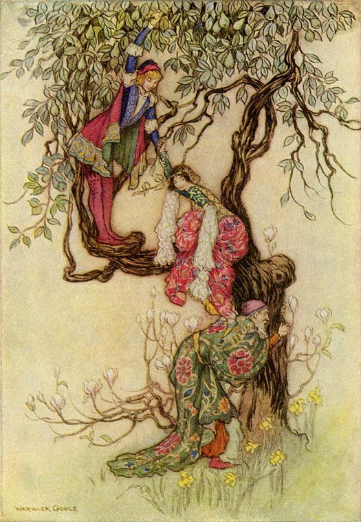 January Helping May into a Tree - Warwick Goble- art print (poster)