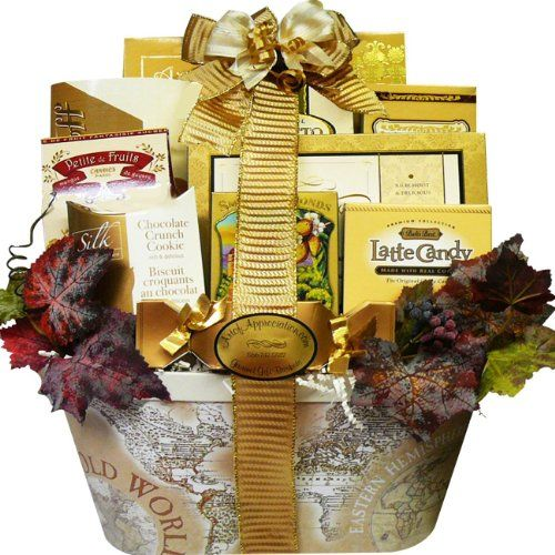 This elegant old world style gift basket is filled with premium gourmet snacks to nibble, nosh and enjoy. It's the perfect way to let someone know how much Old World Charm Gourmet Food and Snacks Gift Basket