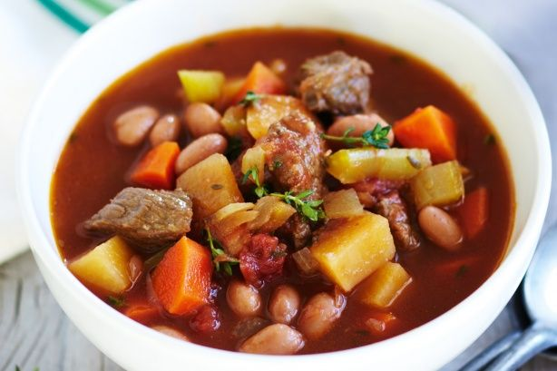 Pop a few ingredients in your slow cooker and come back later to a no-fuss beef and vegetable soup. Easy!