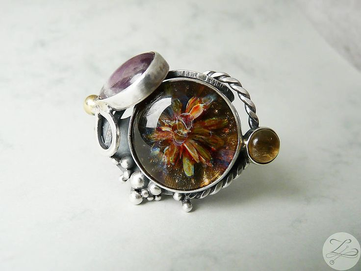 Ethereal Butterfly - Unique Magic Sterling Silver Ring with Ametyst and Citrine by ZuzanaZ on Etsy