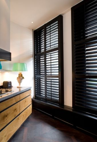 21 best images about windows on pinterest ralph lauren luxurious bathrooms and steel windows for Black window shutters interior