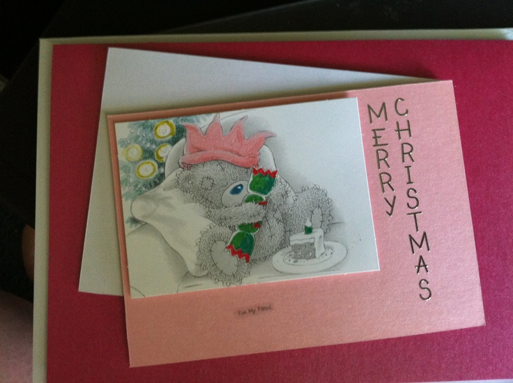 Pink Metallic card highlights the sleeping teddy waiting for Santa