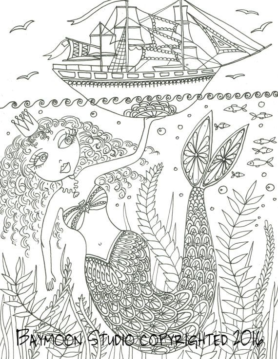 mermaid holding ship coloring page printable coloring pages adult coloring pages hand drawn - Mermaid Coloring Pages Adults