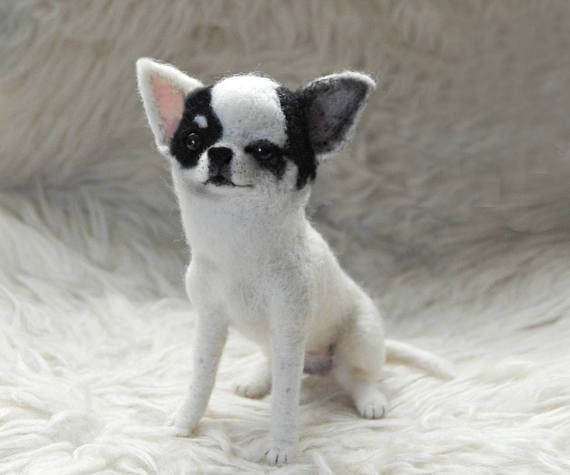 Naald vilten kortharige Chihuahua Custom Made hond portret