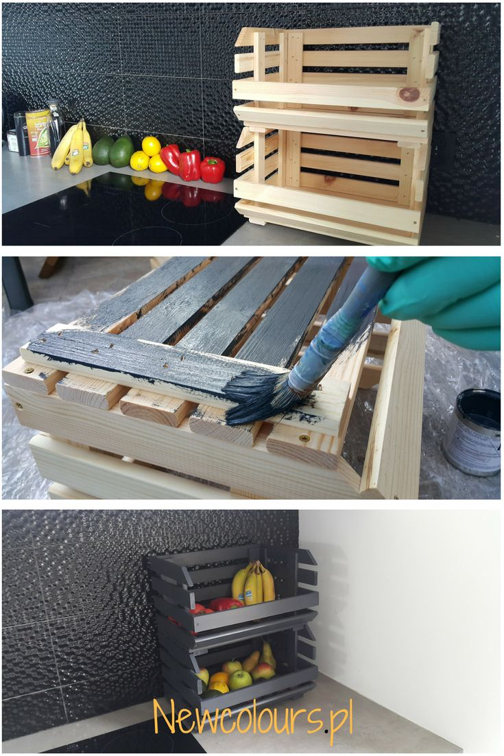 Stylowa skrzynka na owoce DIY. A stylish fruit box DIY. Farba Newcolours.