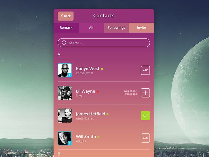 Contact list for messenger app - by Pasha Gonchar | #ui