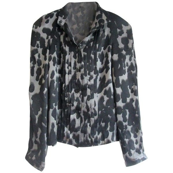 Pre-owned leopard print shirt ($76) ❤ liked on Polyvore featuring tops, black, leopard top, leopard print shirt, pleated shirt, shirred top and ruched shirt