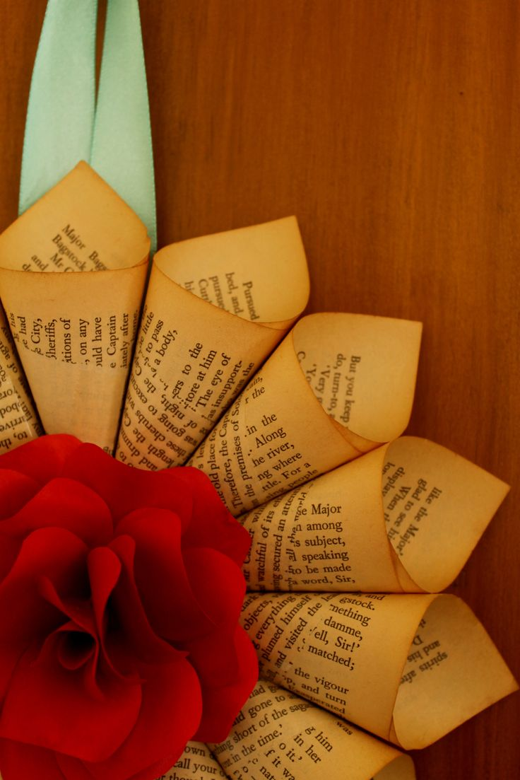 Valentin'es Day Paper Rose Wreath // Handmade Paper Rose set in a frame of aged Book Page scrolls.