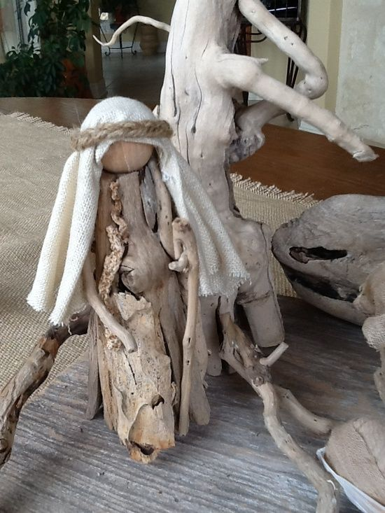 Driftwood nativity figure (Joseph) by Claire.