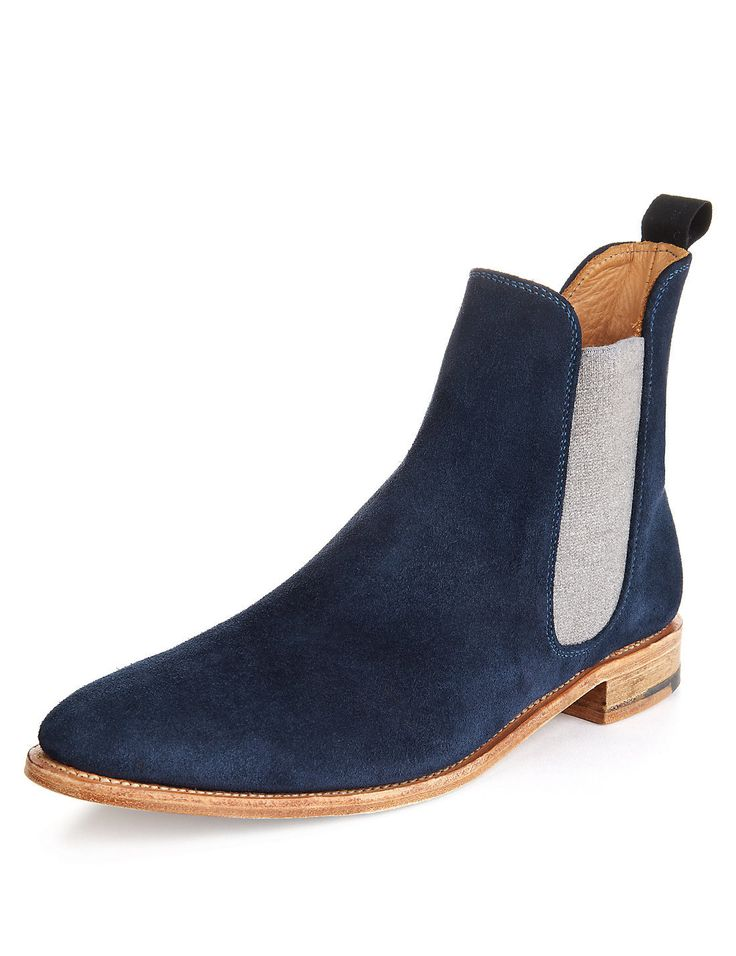 Handmade mens chelsea boots, Men Fashion blue ankle-high suede leather boot