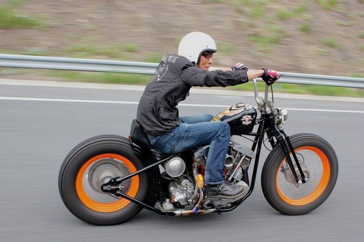 Cruisin bobber style. I gotta say although I have no love for those tires or ape hangers, it actually works real fine.