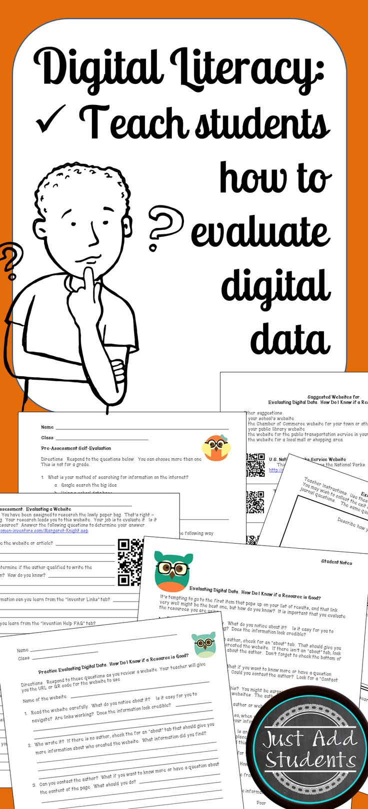 If it's online, it must be true!? Teach students how to determine if an online resource is credible.  QR codes & websites provided extra practice.  Great for paired activity, centers, independent study, or whole-class instruction.