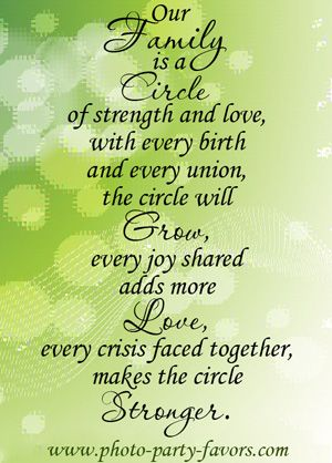 - Our family is a circle of strength and love