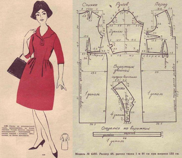 Vintage red dress pattern.