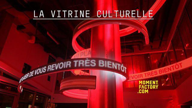 La Vitrine Culturelle by Moment Factory located at the heart of Montreal's Quartier des Spectacles theatre district. / La Vitrine Culturelle - le centre d'information situé au cœur du Quartier des spectacles dans l'édifice 2-22, Moment Factory.