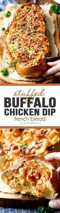 Mega flavorful Buffa Mega flavorful Buffalo Chicken Dip Stuffed...  Mega flavorful Buffa Mega flavorful Buffalo Chicken Dip Stuffed French Bread is your favorite decadent creamy cheesy dip baked right into the loaf! Crazy delicious side or EASY crowd pleasing appetizer perfect for parties or game day! My friends always beg me to make this! Recipe : http://ift.tt/1hGiZgA And @ItsNutella  http://ift.tt/2v8iUYW