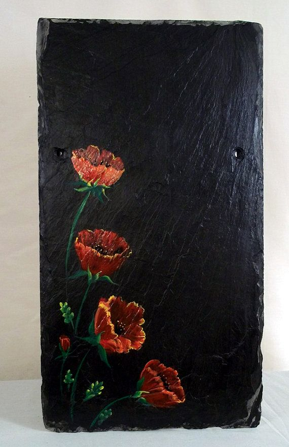 Original Garden Art on Slate Shingle Poppies by BrushAndQuill, $50.00