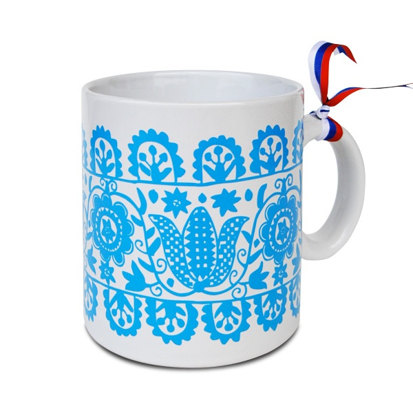 traditional slovakian embroidery motif mug