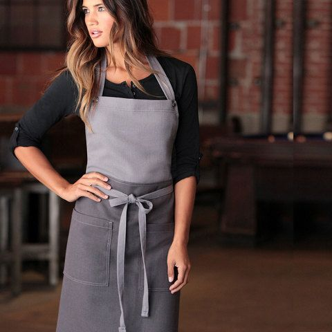Buy Contrast Full Bib Urban Apron Pocket • perfect for hospitality street inspired uniforms •  chocolate/cub, natural/caramel, frost/grey. Shop aprons online at Blank Clothing