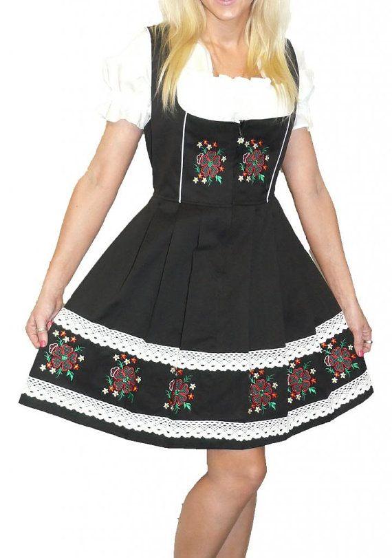 3-Piece Short Blue German Dirndl Dress 2 8 10 12 by TrachtenWorld