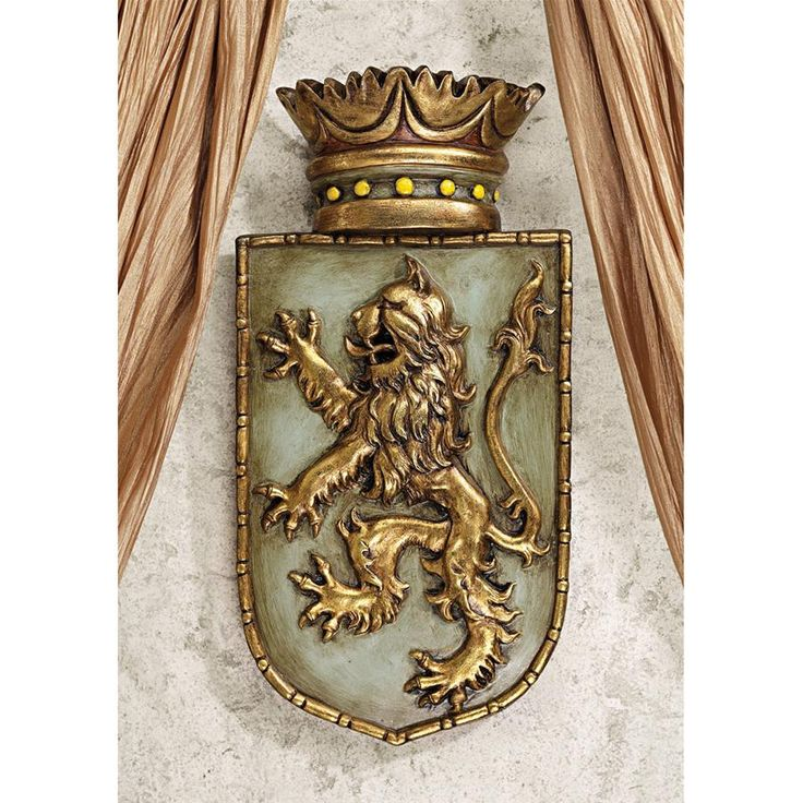 Medieval Rampant Lion Shield Wall Sculpture
