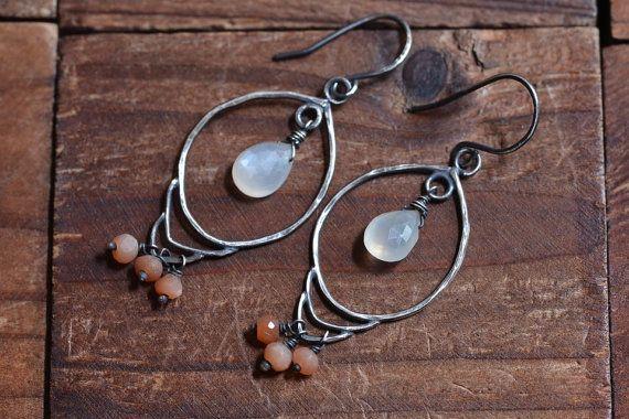 Oxidized Sterling Silver Moonstone Earrings  Boho by JooniJewelry