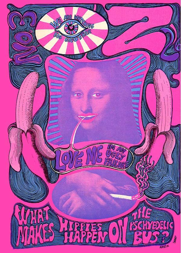 """Oz Magazine cover """"Love me, I´m ugly failure"""" by Martin Sharp ( Pink Mona Lisa), May, 1967 / Issue nº 3"""