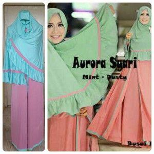 2-Model Baju Gamis Muslim Aurora -mint-dusty