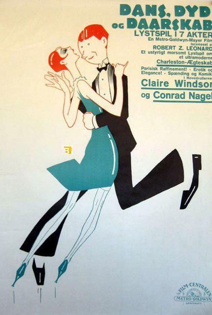 Movie poster by Sven Brasch (1886-1970), 1926, Dans, Dyd og Daarskab (Dance Madness). (Swedish)
