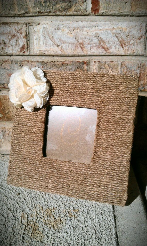 Picture FrameTwineBurlap FlowerWood by cheryllingriddesigns, $15.00