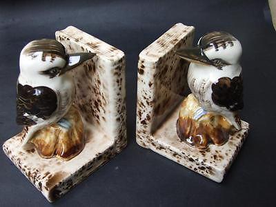 Vintage Australian Kookaburra Form Pottery Bookends in Grace Seccombe Style 30's