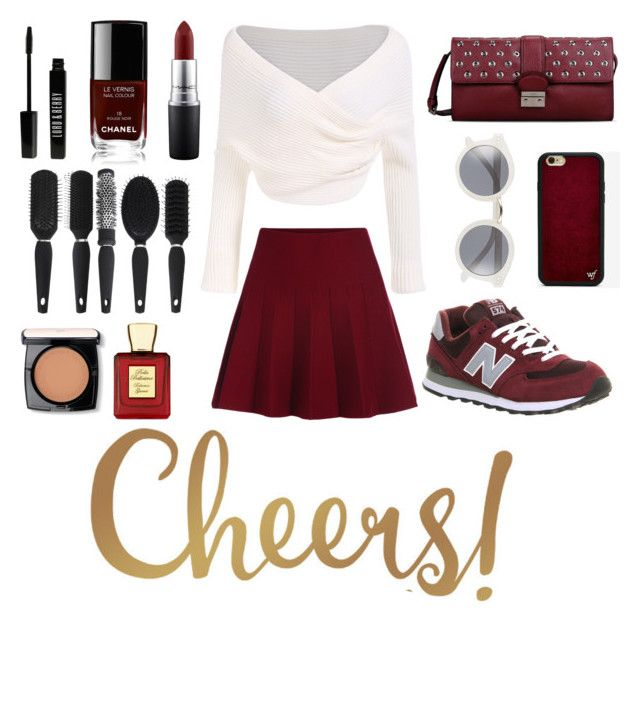 """""""Cheers! Maroon makes me die"""" by aninditaarr on Polyvore featuring New Balance, RED Valentino, Wildflower, A.J. Morgan, MAC Cosmetics, Chanel, Lord & Berry, Lancôme and Bella Bellissima"""