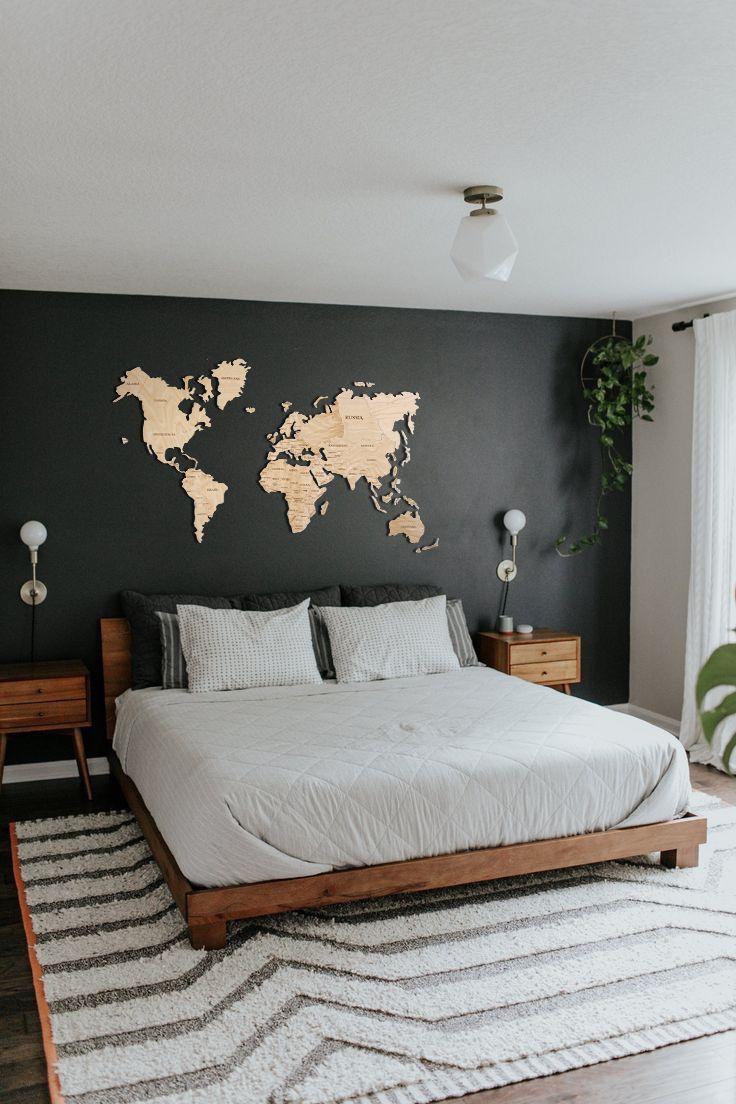 Wood Wall Art Wall Map of the World Map Wooden Travel Push Pin