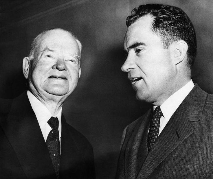 Presidents Herbert Hoover, (1929 - 1933), and Richard Nixon (1969 - 1974), circa 1960.