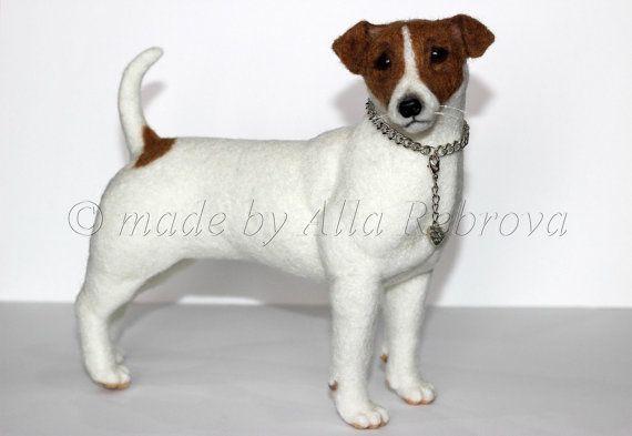 Benutzerdefinierte Nadel gefilzt 100 % Wolle / Skulptur Memory Pet Portrait Haustier Replik gefüllt Jack-Russell-Terrier Hund