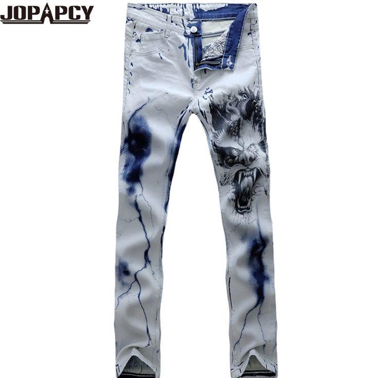 (40.00$)  Buy here  - Fashion new white pattern jeans men vintage pantalones vaqueros hombre marce plus size denim hip hop rock pants mens MYA0090