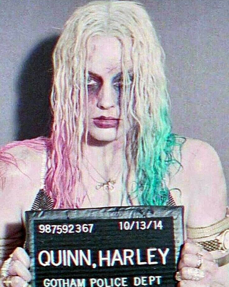 Harley Quinn's mug shot from Suicide Squad