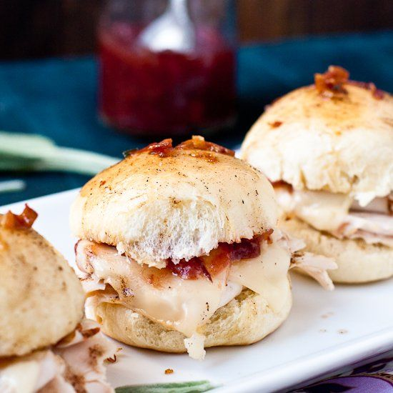 Turkey & Cranberry Sliders with Browned Sage Butter.