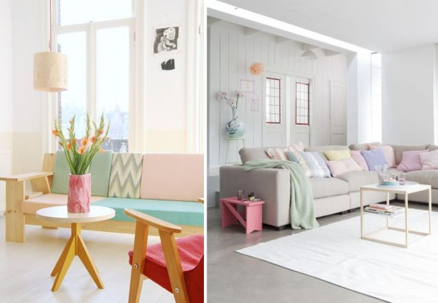 Accessoires déco, petits meubles et même fauteuils et canapés : les couleurs pastel sont partout. On en dispose des touches dans la décoration et on n'hési
