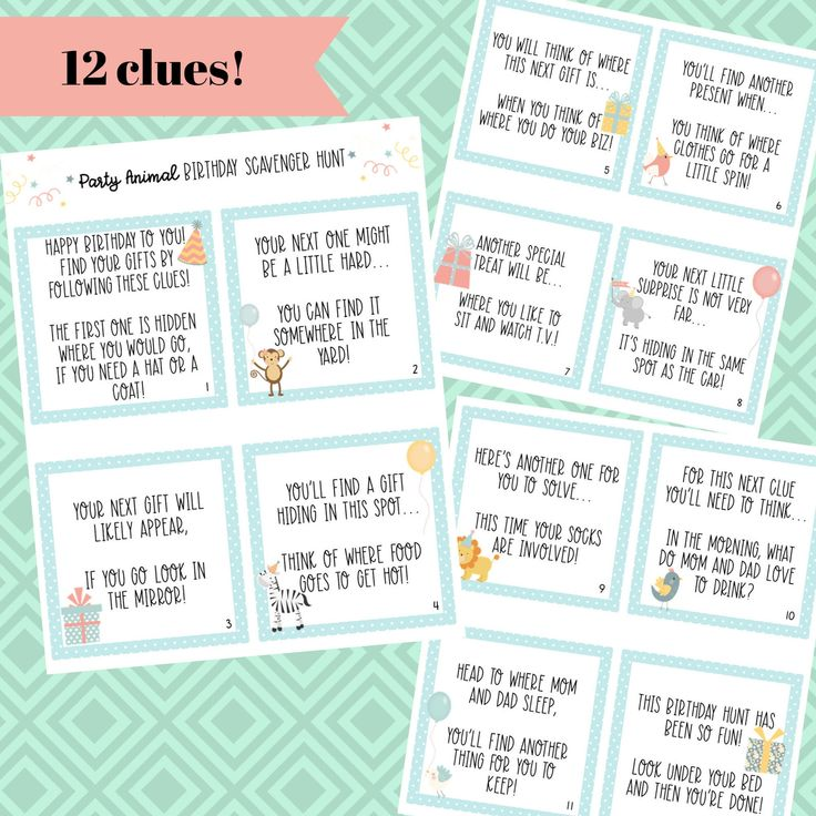 Birthday Scavenger Hunt Clue Cards 12 clues simple fun