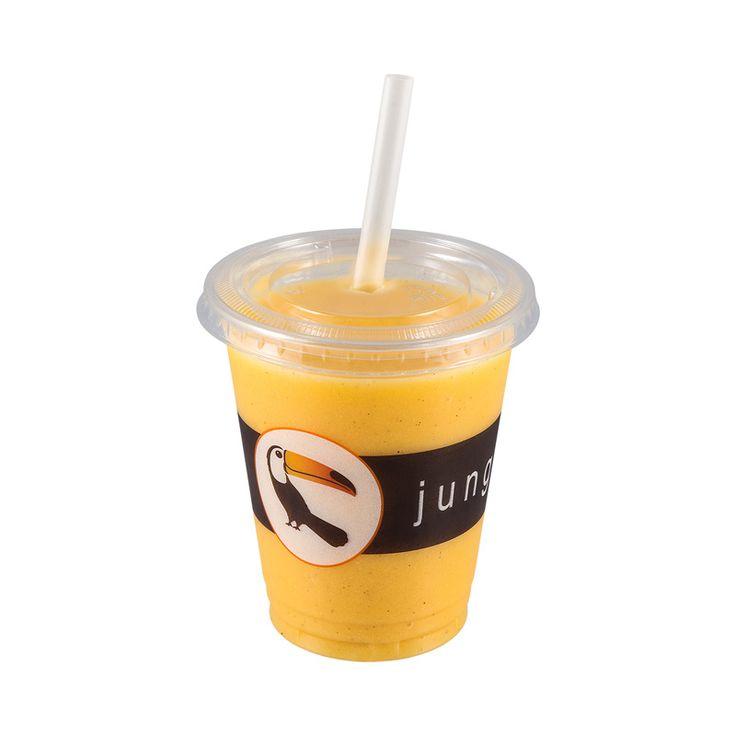 Flu fighter -smoothie 0,4 litraa, 4,50 €. Mango, inkivääri, vanilja, päärynä, tuorepuristettu omenamehu, jäitä. Norm. 5,95 €.  JUNGLE JUICE BAR, E-TASO