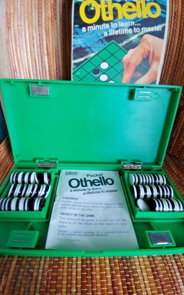 Vintage 1977 Pocket Othello Game Made by Gabriel Travel Game  #Gabriel