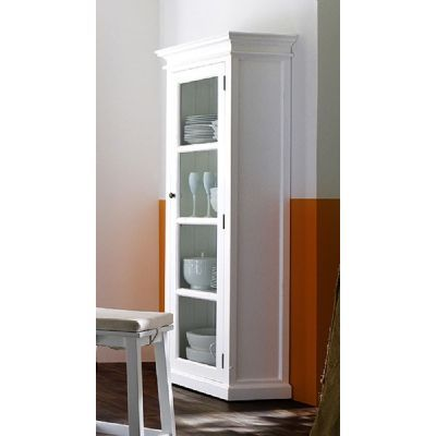 Whitehaven Distressed White Painted Chic Single Glazed Display Cabinet