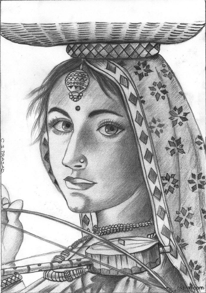 Pencil Sketches of Indian God, Sculptures, Animals, Actress etc...