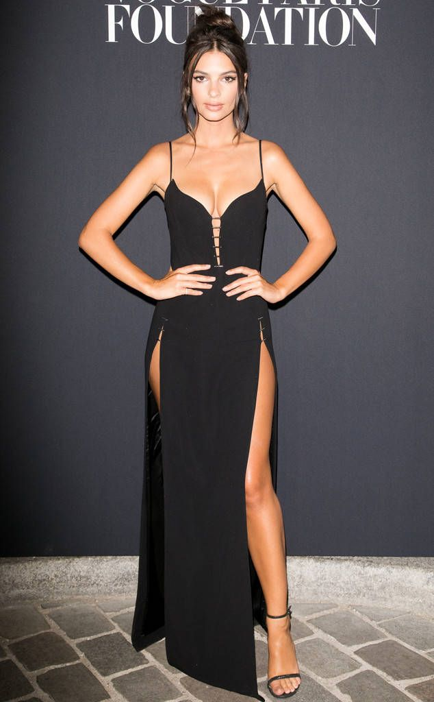 Sultry Siren from Fashion Police  Emily Ratajkowski stays in her lane at the Vogue Paris Foundation Dinner in a sultry and seductive Mugler Resort 2018 gown with thigh-high slits and a plunging neckline. The Gone Girl actress makes sure to keep the styling and accessories simple to really show off those assets.