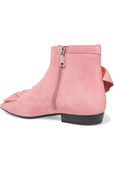 Heel measures approximately 20mm/ 1 inch Baby-pink suede Zip fastening along side Made in Italy