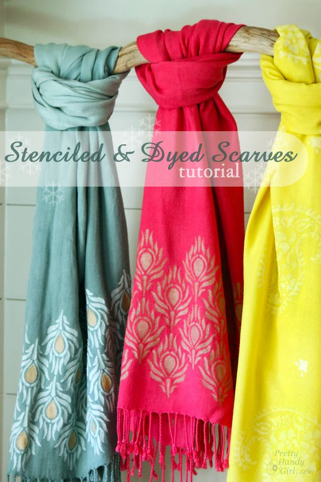 Stenciled and Dyed Scarves Tutorial - Pretty Handy Girl- a great project for idye and our Rayon scarves! http://www.dharmatrading.com/handwoven-plain-twill-rayon-challis-scarf.html